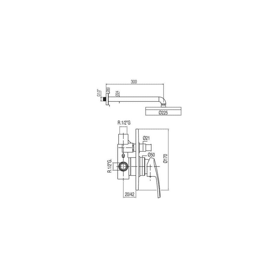 Tres Eco-Tres kompletny zestaw prysznicowy podtynkowy deszczownica o225mm chrom - 525561_O2