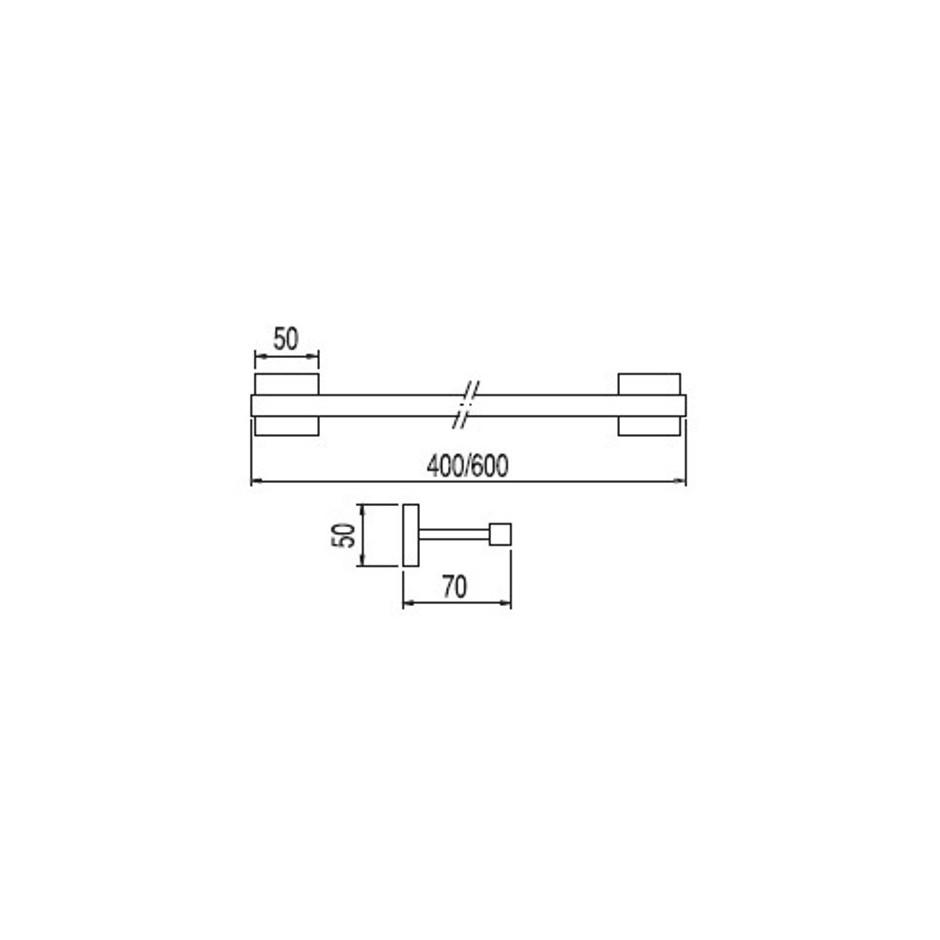 Tres Cuadro-Tres wieszak na ręcznik 400mm chrom - 3830_T1
