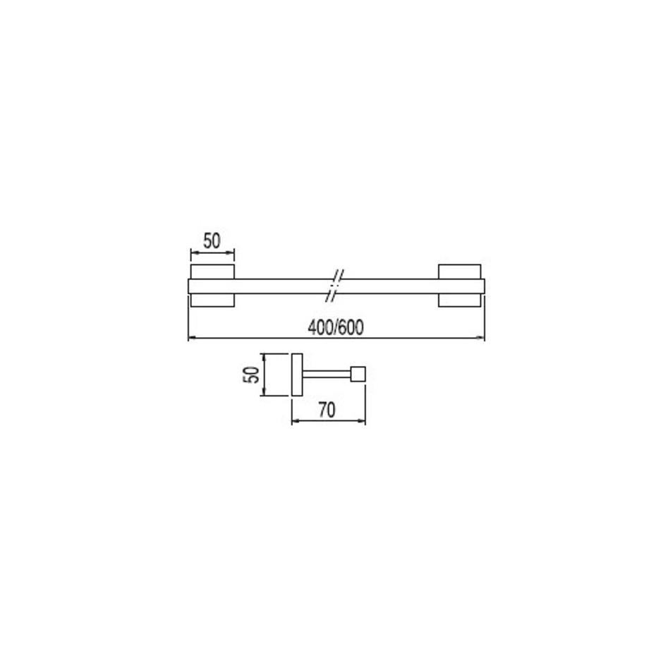 Tres Cuadro-Tres wieszak na ręcznik 600mm chrom - 3831_T1