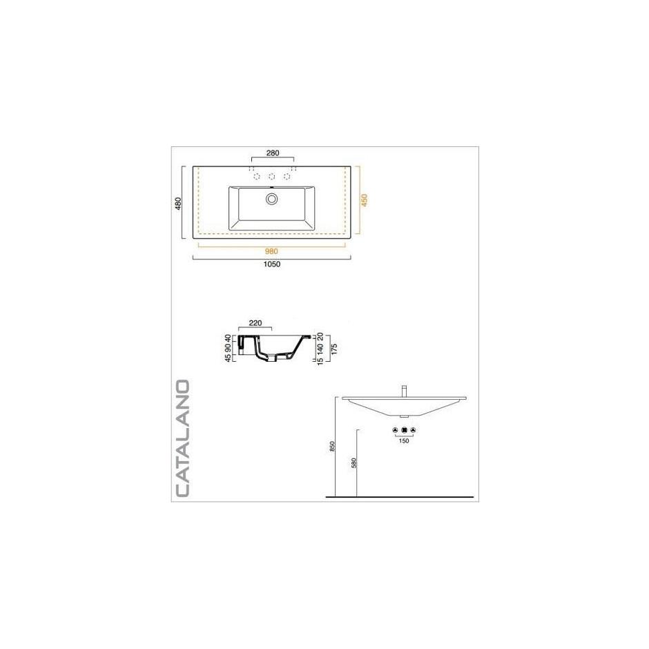 Catalano Star Umywalka wisząca 105x48 biała - 459532_T1