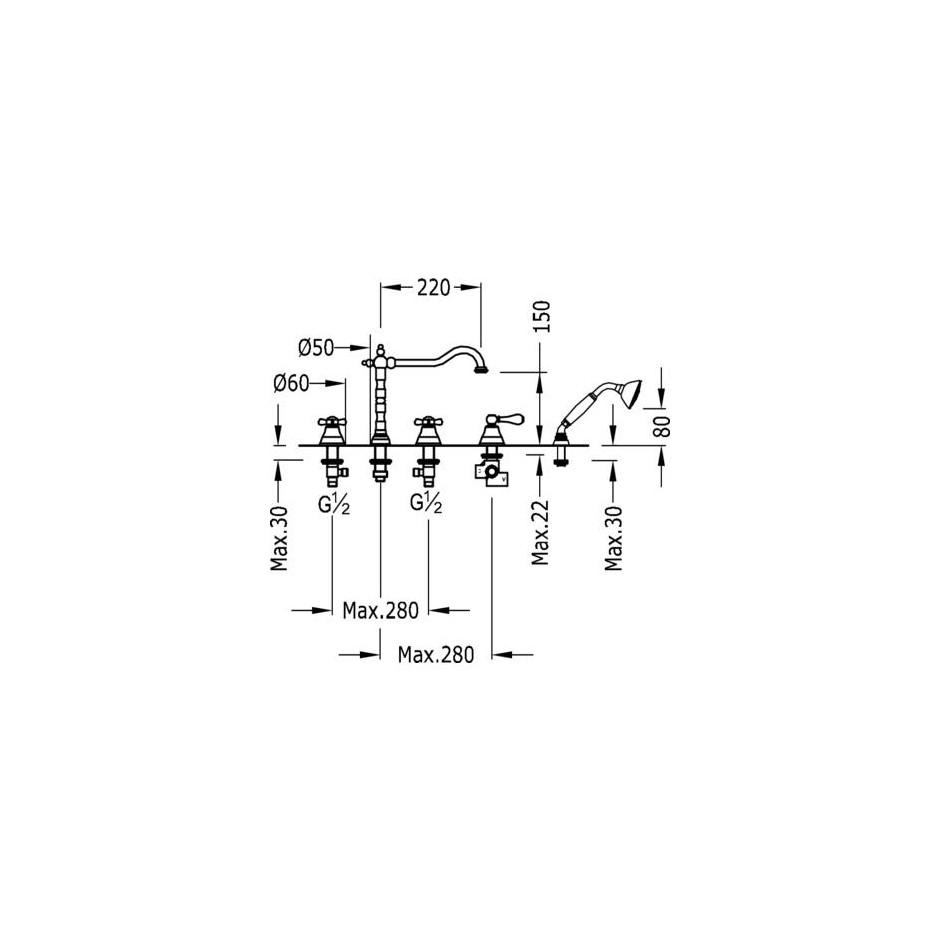 Tres Retro bateria wannowa stojąca 5-otworowa kompletna chrom - 5240_T1