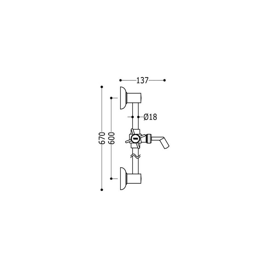 Tres Retro drążek prysznicowy niklowany O 18 mm 600 mm - 4746_O2