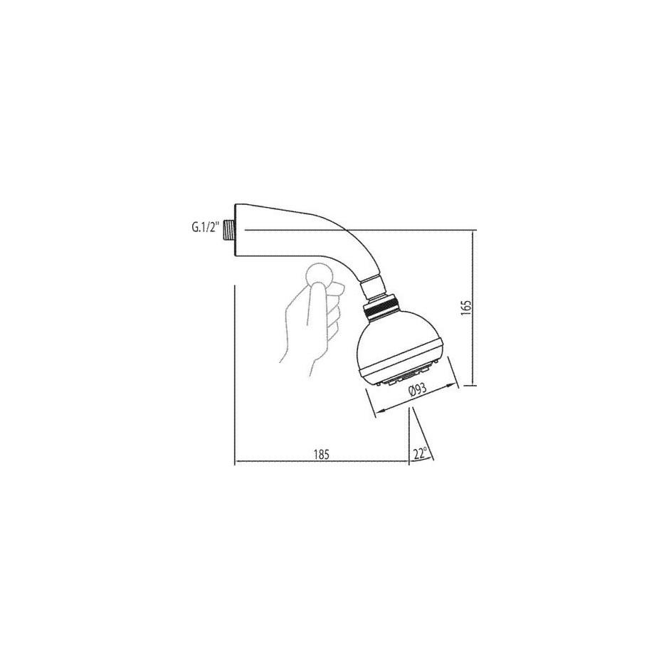 Tres słuchawka prysznicowa Plus chrom - 4760_T1