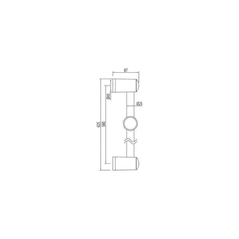 Tres drążek prysznicowy niklowany Luxus O25mm 578mm chrom - 4764_O2