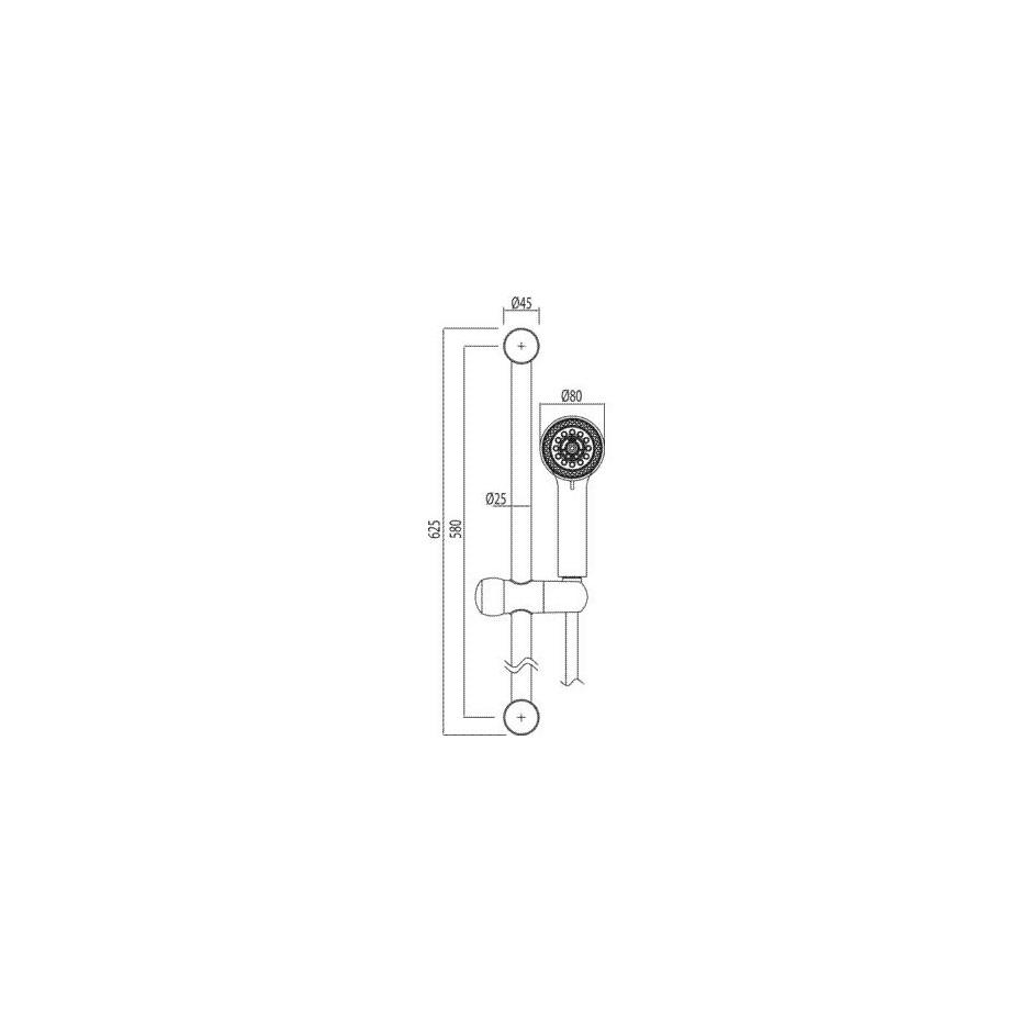 Tres zestaw prysznicowy natynkowy na drążku długość 578mm chrom - 4769_O2