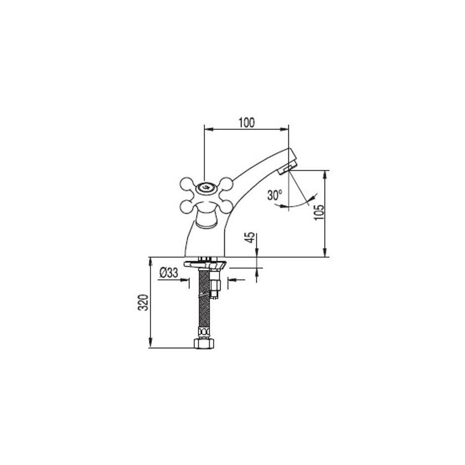 Tres Clasictres bateria umywalkowa stojąca korek automatyczny chrom - 4052_T1