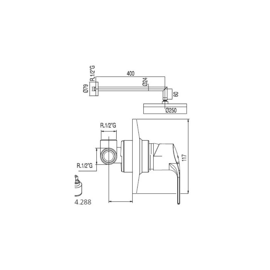 Tres K-Tres kompletny zestaw prysznicowy podtynkowy deszczownica o225mm chrom - 4956_T1
