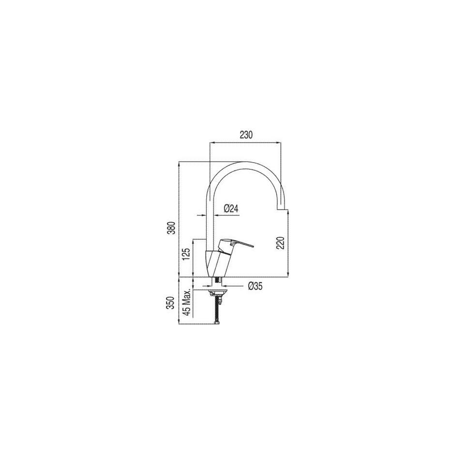 Tres K-Tres bateria kuchenna, zlewozmywakowa stojąca chrom - 4958_T1