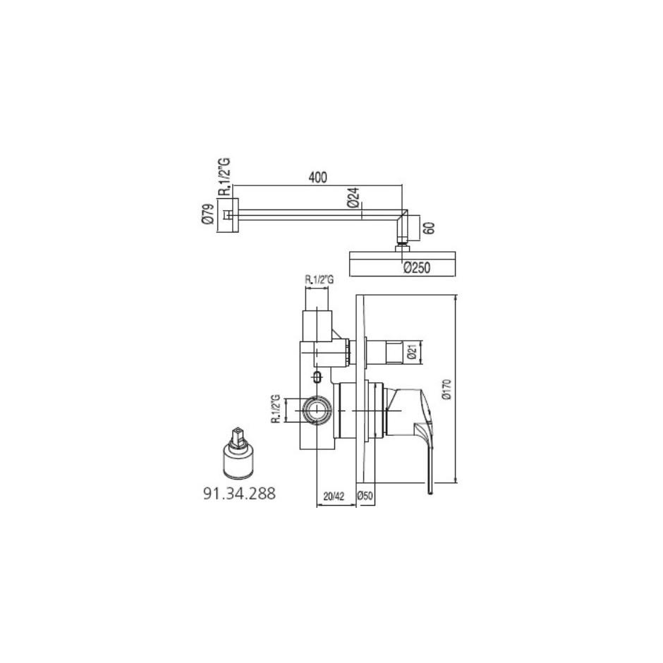 Tres K-Tres kompletny zestaw prysznicowy podtynkowy deszczownica o225mm chrom - 4960_T1