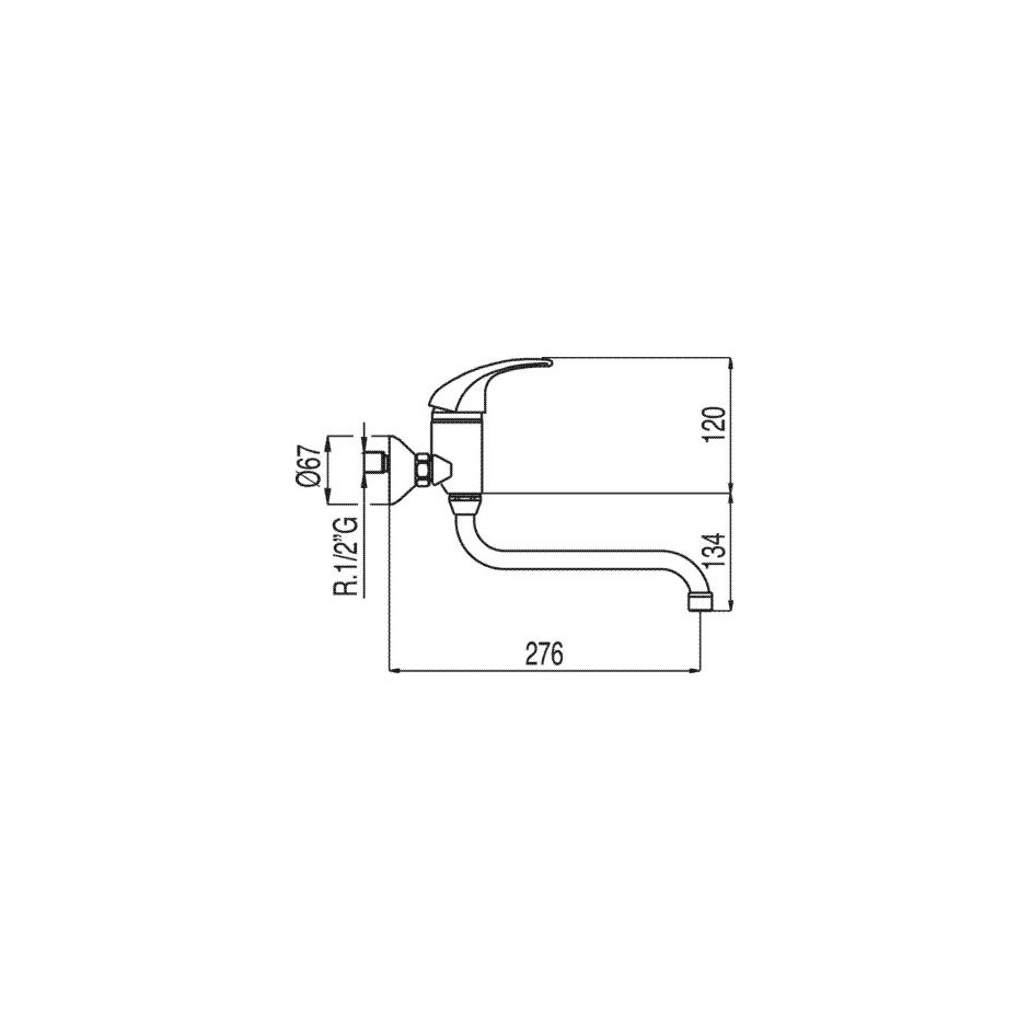 Tres Monotres 2000 bateria kuchenna, zlewozmywakowa natynkowa ścienna chrom - 5184_T1