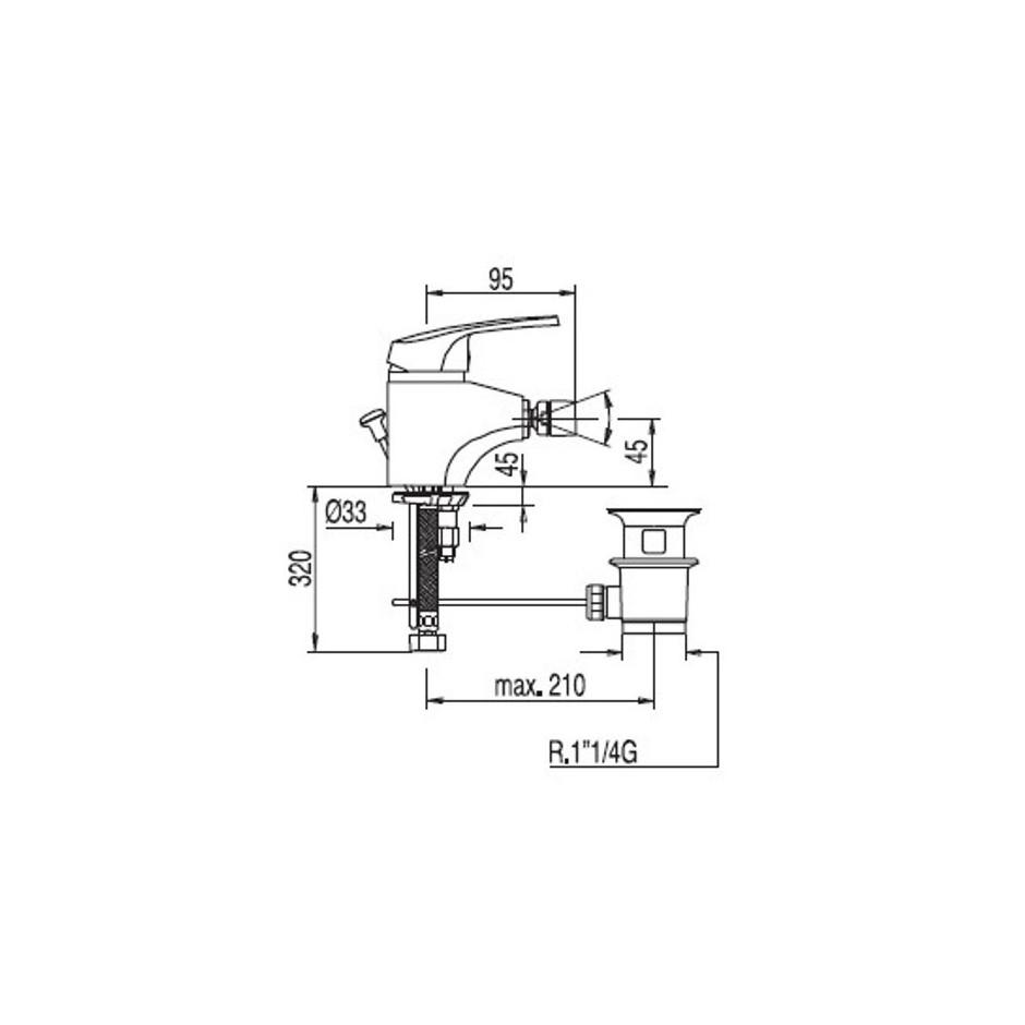 Tres Eco-Tres bateria bidetowa stojąca korek automatyczny chrom - 4904_T1