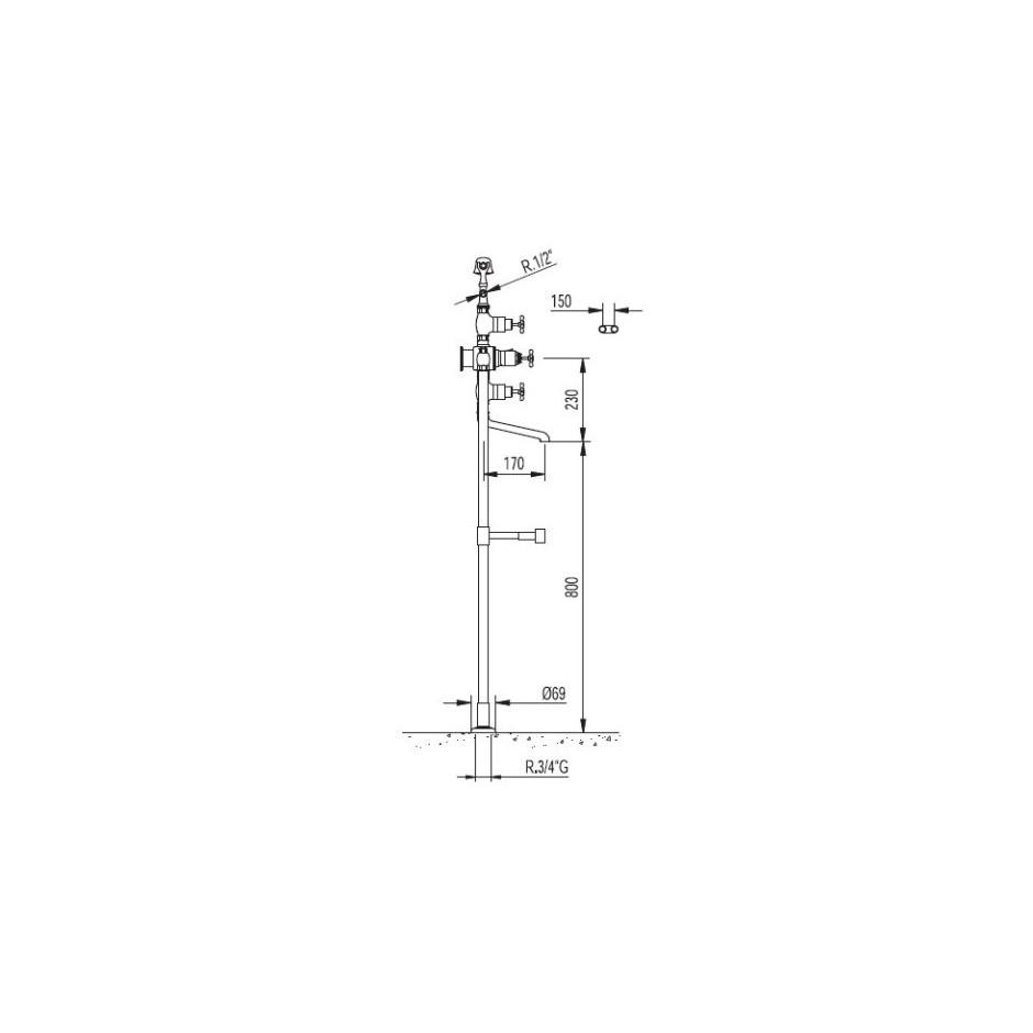 Tres Retro bateria wannowo-natryskowa stojąca w podłodze kompletna chrom - 5255_T1