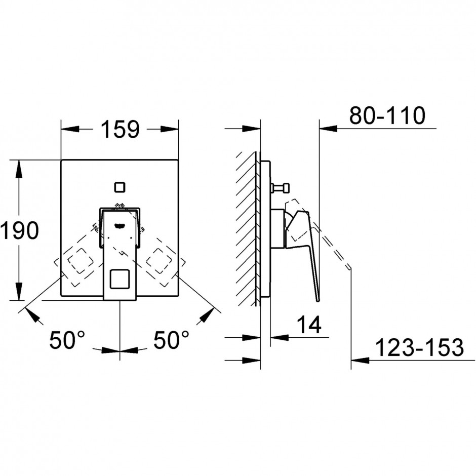 Grohe Eurocube bateria wannowa podtynkowa chrom - 433348_T1