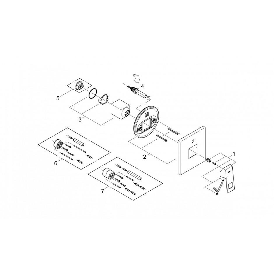 Grohe Eurocube bateria wannowa podtynkowa chrom - 433348_T2