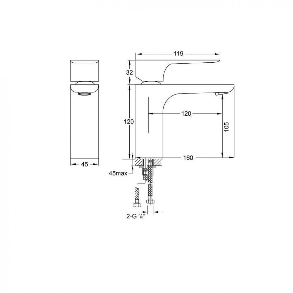 """Steinberg Selection bateria umywalkowa sztorcowa bez korka, wężyki 3/8"""" chrom - 729363_T1"""