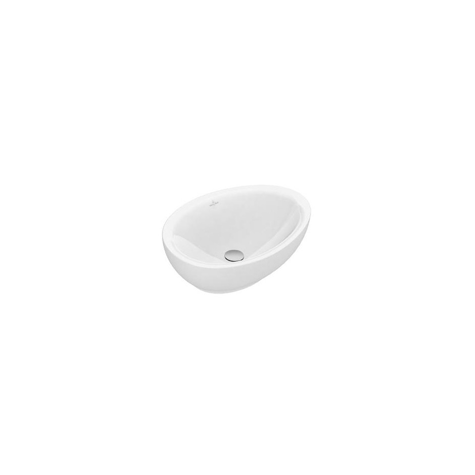 Villeroy & Boch Aveo new generation Umywalka stojąca na blacie owalna 595 x 440 mm szlifowany spód, bez miejsca na armaturę, Star White Ceramicplus - 464319_O1