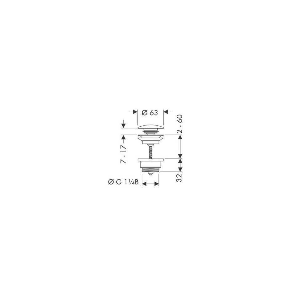 "Hansgrohe korek odpływowy Push-Open, klik-klak 1/14"" - 3574_T1"