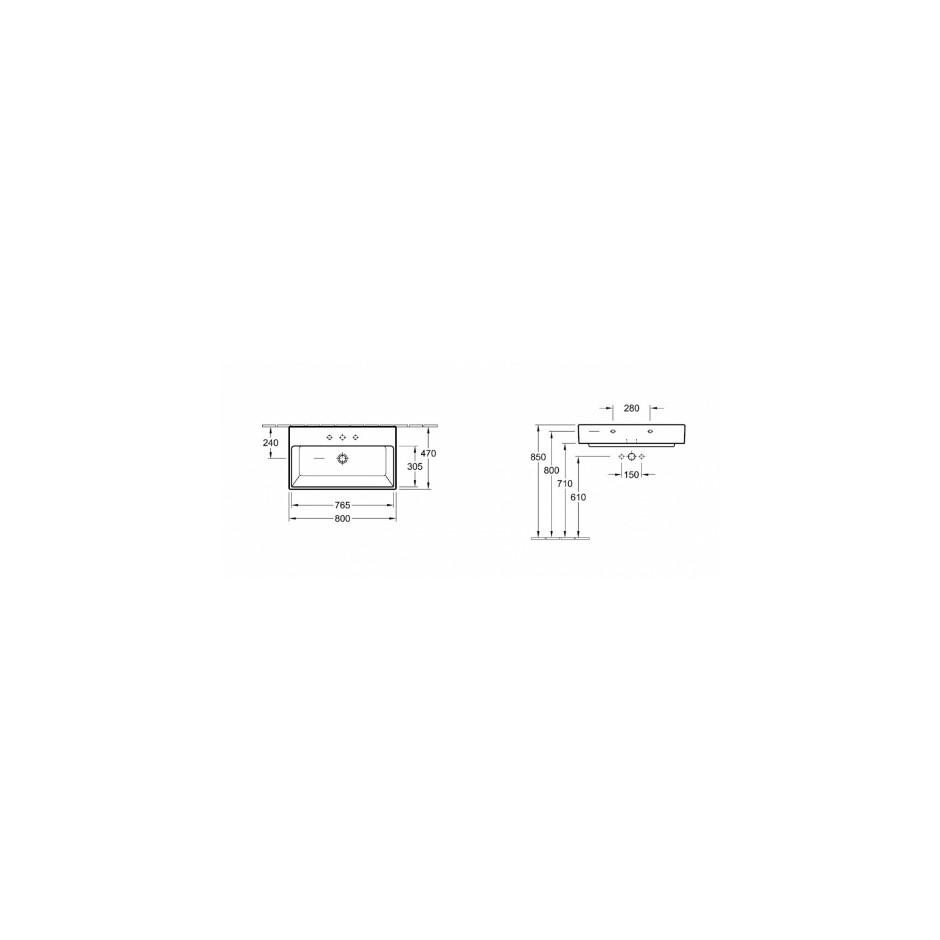 Villeroy & Boch Memento umywalka 800 x 470 mm, szlifowany spód, do montazu z meblami Memento Weiss Alpin - 9966_T1