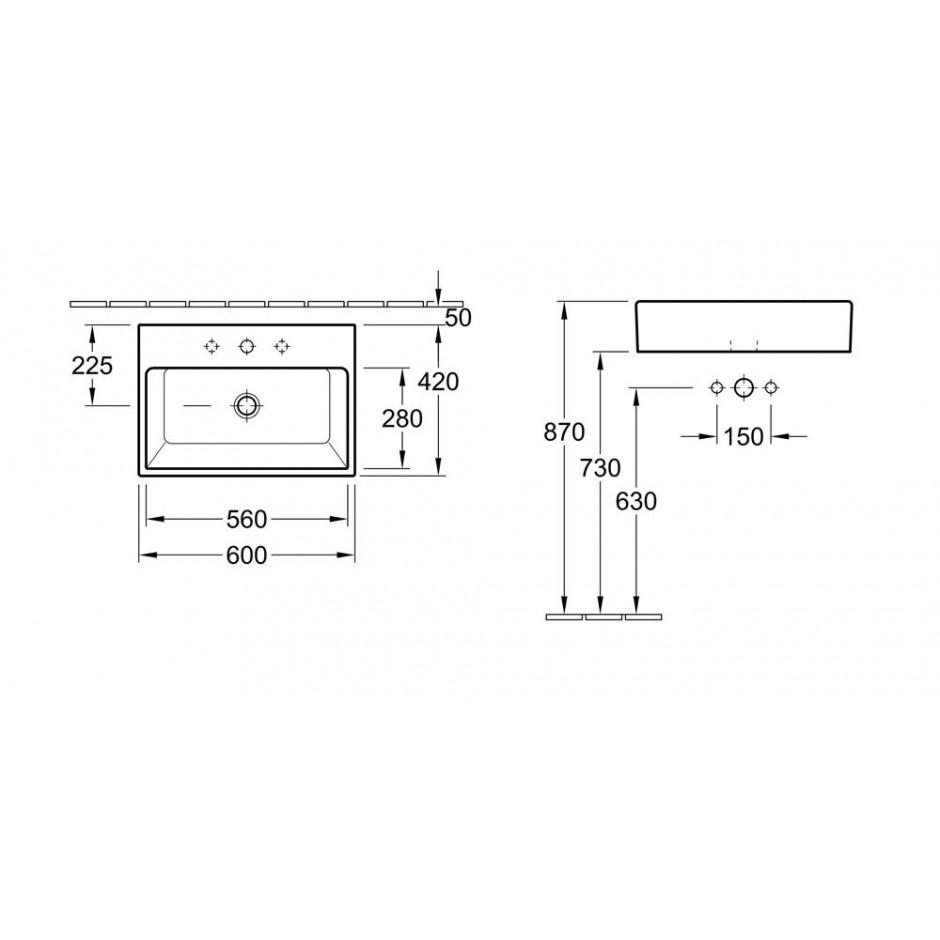 Villeroy & Boch Memento umywalka stojaca na blacie, 600 x 420 mm, Weiss Alpin - 10001_T1