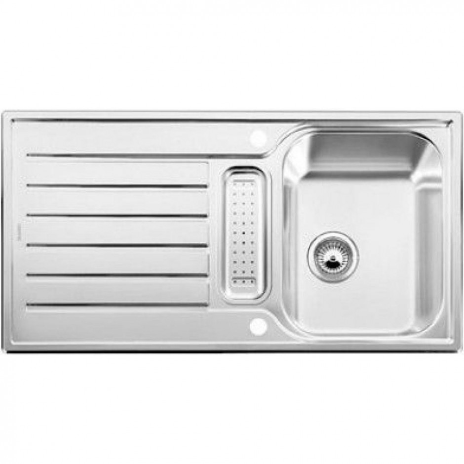 Blanco zlewozmywak stalowy LANTOS 5 S dekor z korkiem automatycznym - 609699_O1