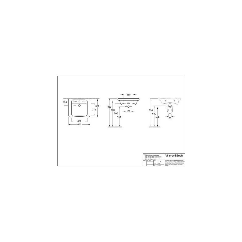 Villeroy & Boch Architectura vita, Umywalka vita, 650 x 550 mm, Weiss Alpin - 10379_T1