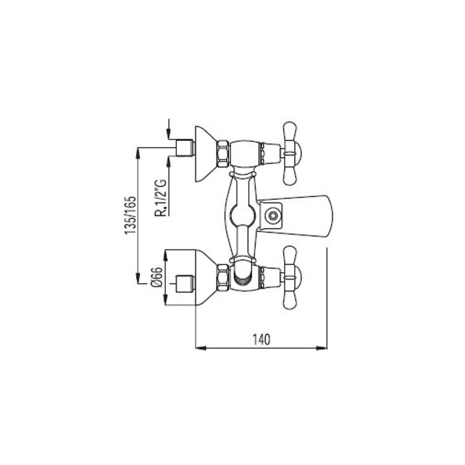 Tres Retro bateria wannowo-natryskowa natynkowa stary mosiądz - 5272_T1