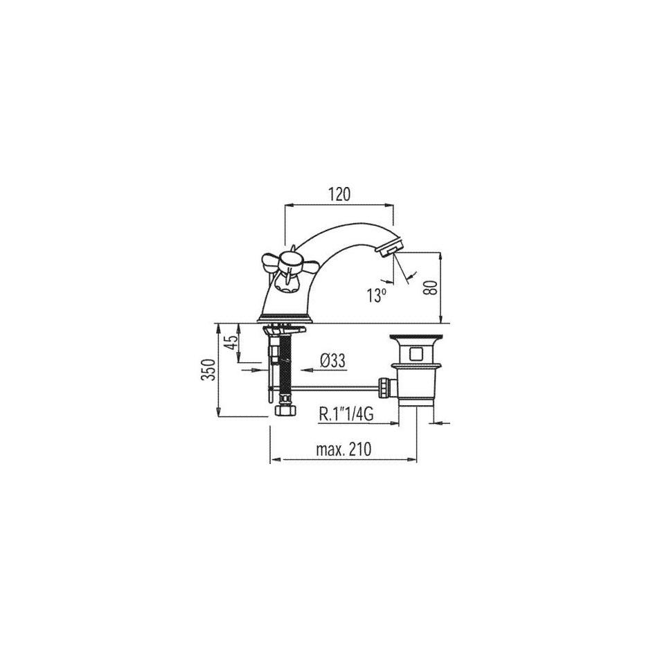 Tres Retro bateria umywalkowa stojąca korek automatyczny stary mosiądz - 5283_T1