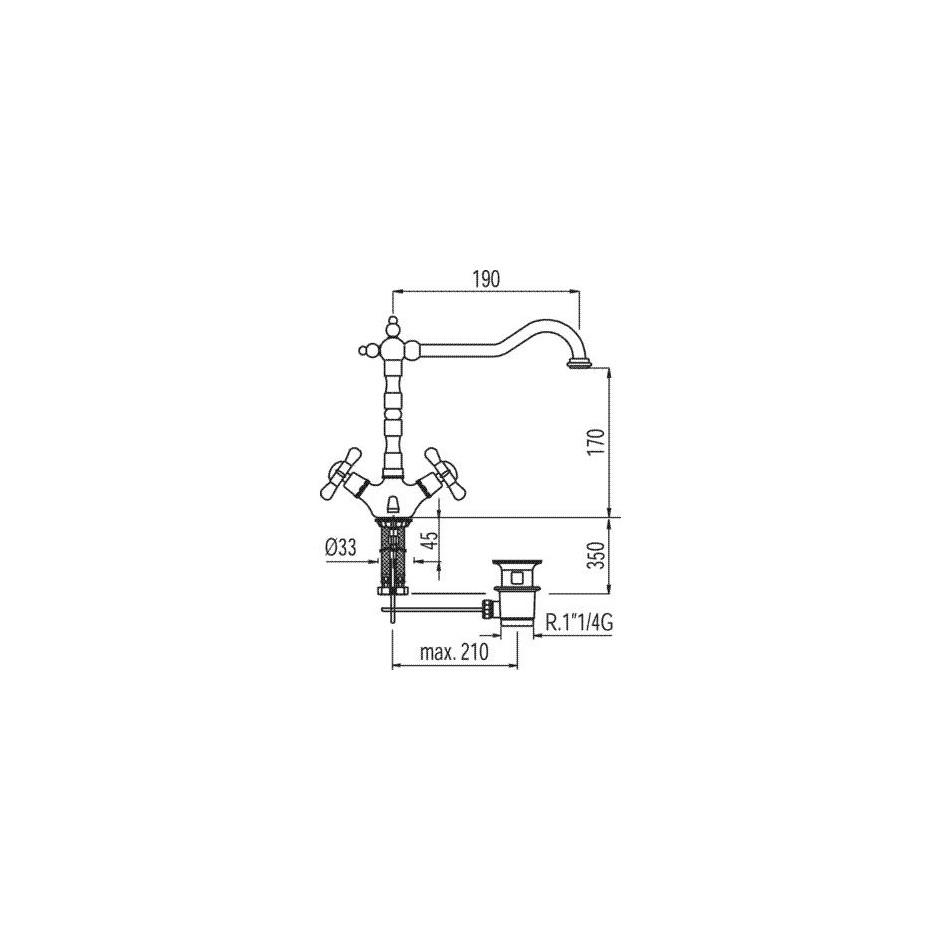 Tres Retro bateria umywalkowa stojąca korek automatyczny chrom - 5286_T1