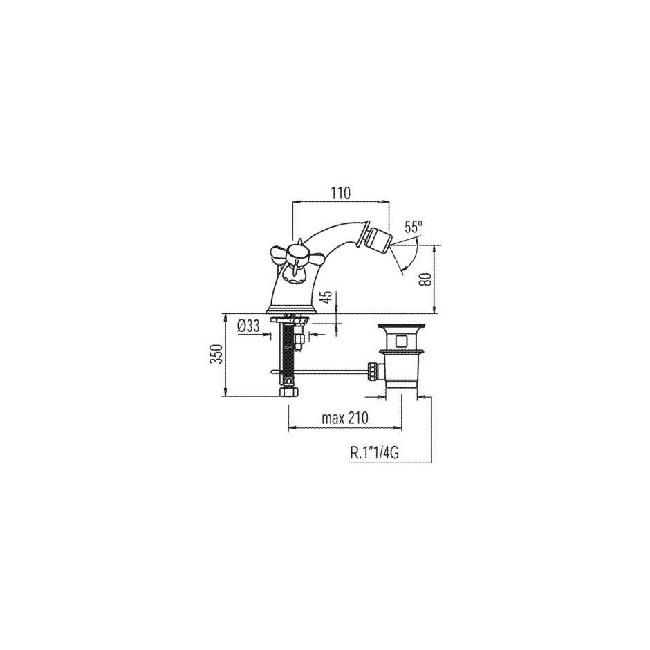 Tres Retro bateria bidetowa stojąca korek automatyczny chrom - 5290_T1