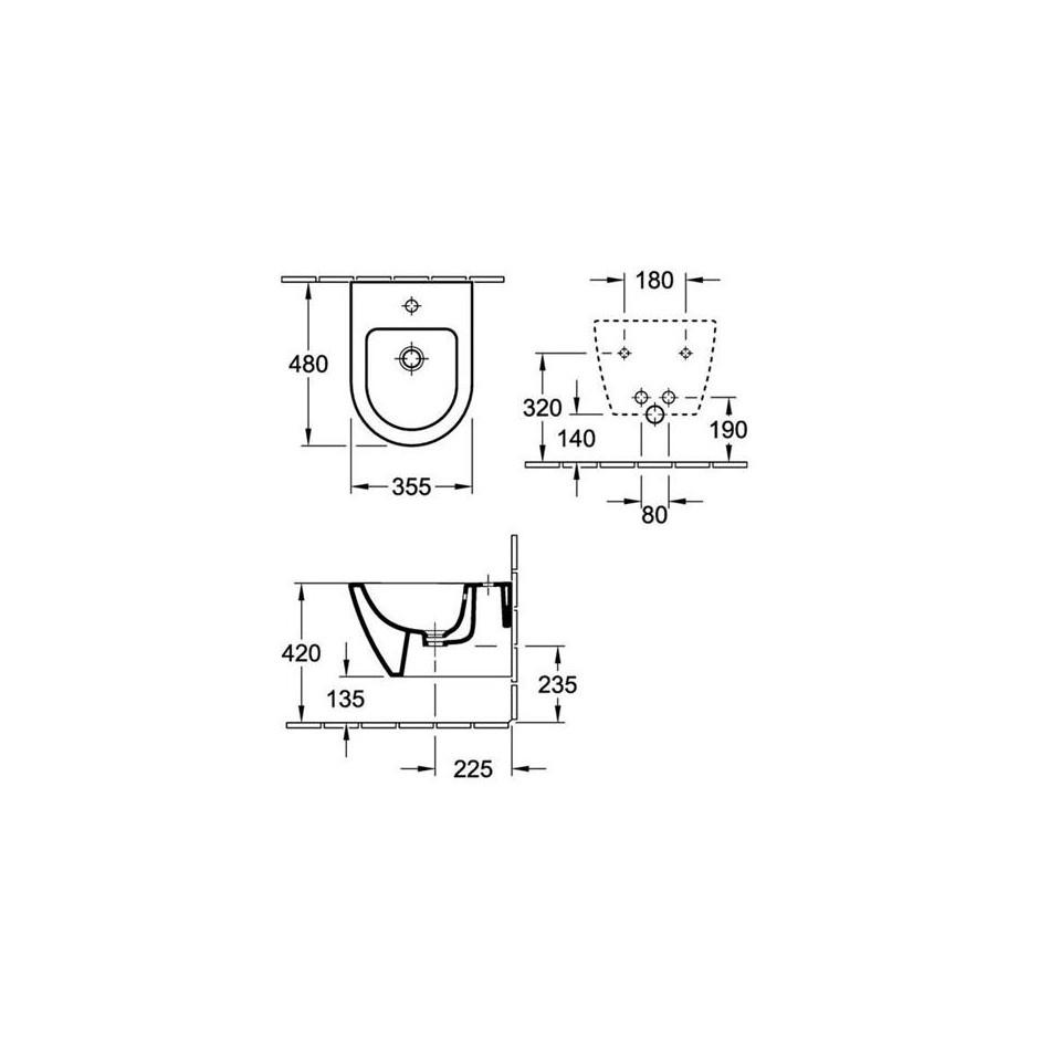 Villeroy & Boch Subway 2.0 bidet typu kompakt, 355 x 480 mm, model wiszacy, Star White Ceramicplus - 419012_T1