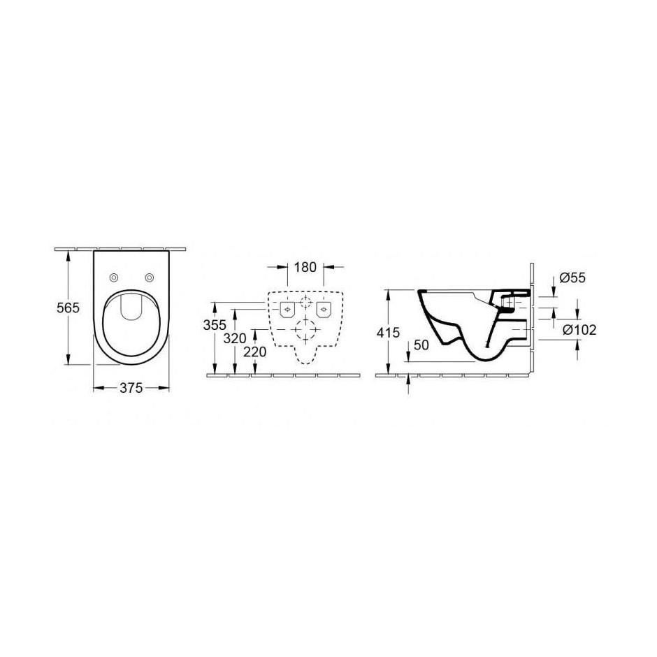 Villeroy & Boch Subway 2.0 miska WC wisząca bezrantowa, DirectFlush , 375 x 565 mm, Star White Ceramicplus - 466759_T1