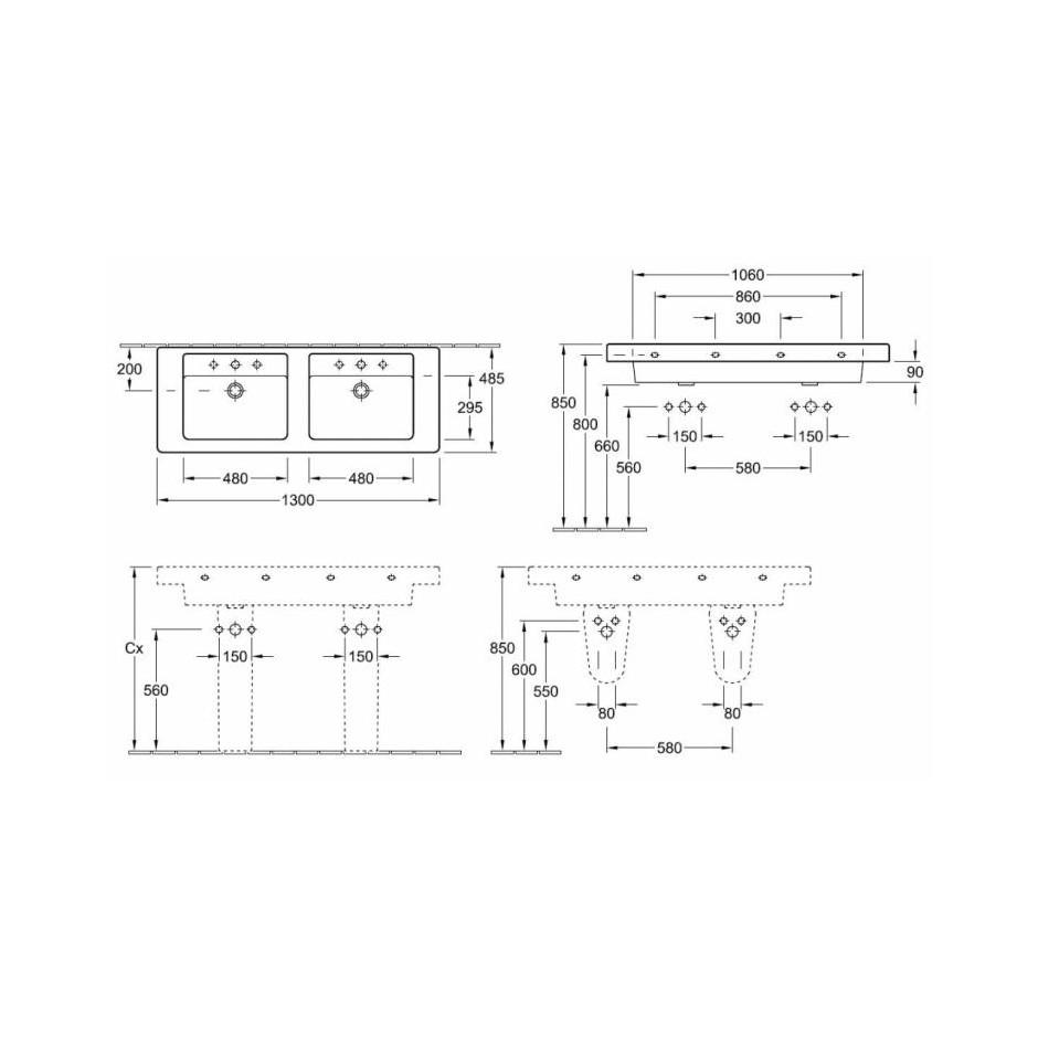 Villeroy & Boch Architektura, umywalka meblowa podwójna, 1300 x 485 mm, Weiss Alpin - 12209_T1