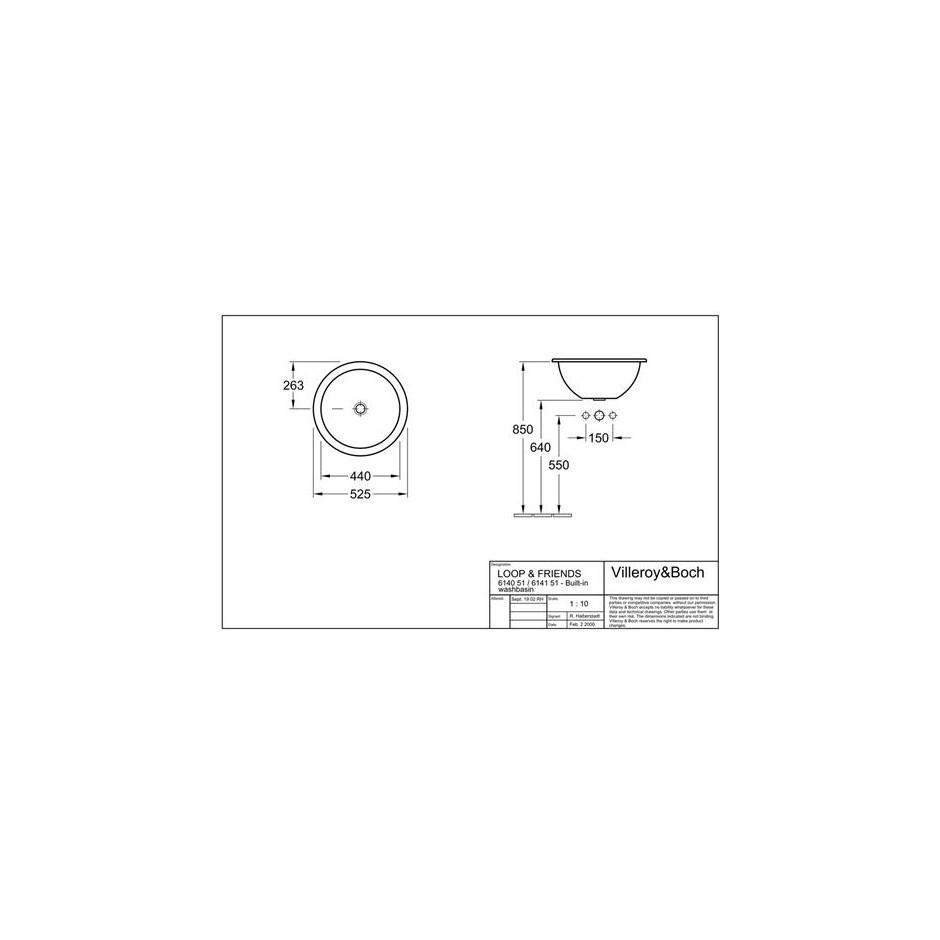 Villeroy & Boch Loop & Friends umywalka nablatowa, 525 mm srednicy, Weiss Alpin - 9001_T1