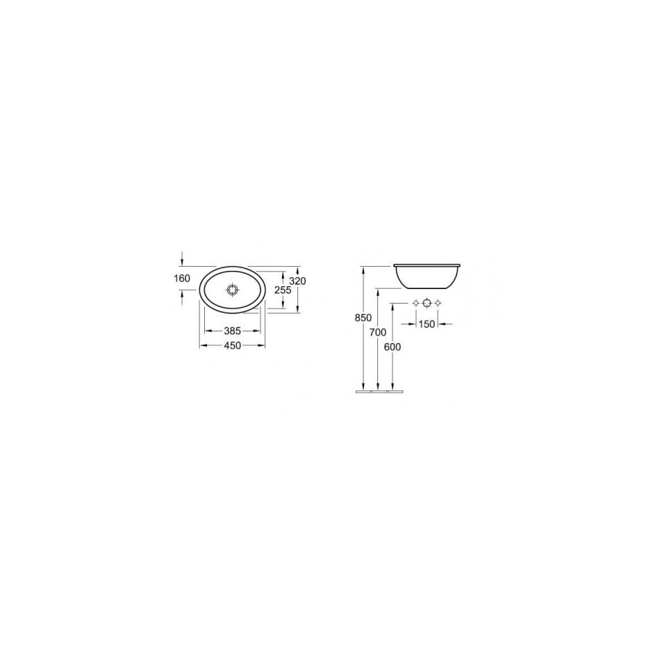 Villeroy & Boch Loop & Friends umywalka nablatowa, 450 x 320 mm, Star White Ceramicplus - 9114_T1