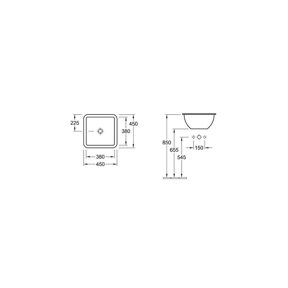 Villeroy & Boch Loop & Friends umywalka nablatowa, 450 x 450 mm, Star White Ceramicplus - 9044_T1