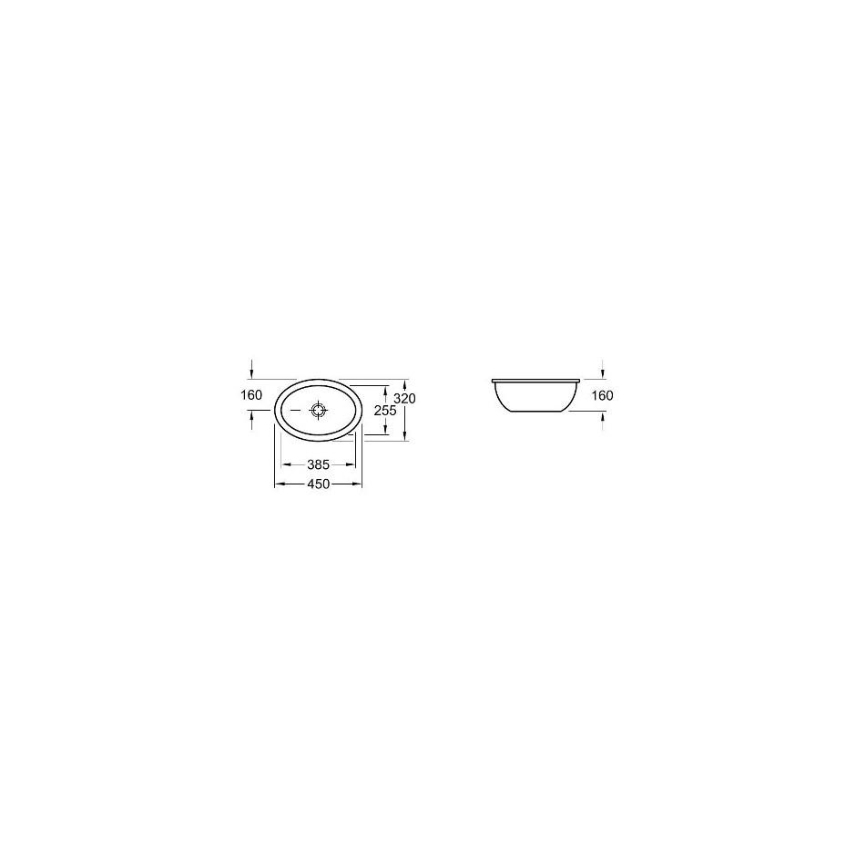 Villeroy & Boch Loop & Friends umywalka podblatowa, 385 x 255 mm, Star White Ceramicplus - 9354_T1