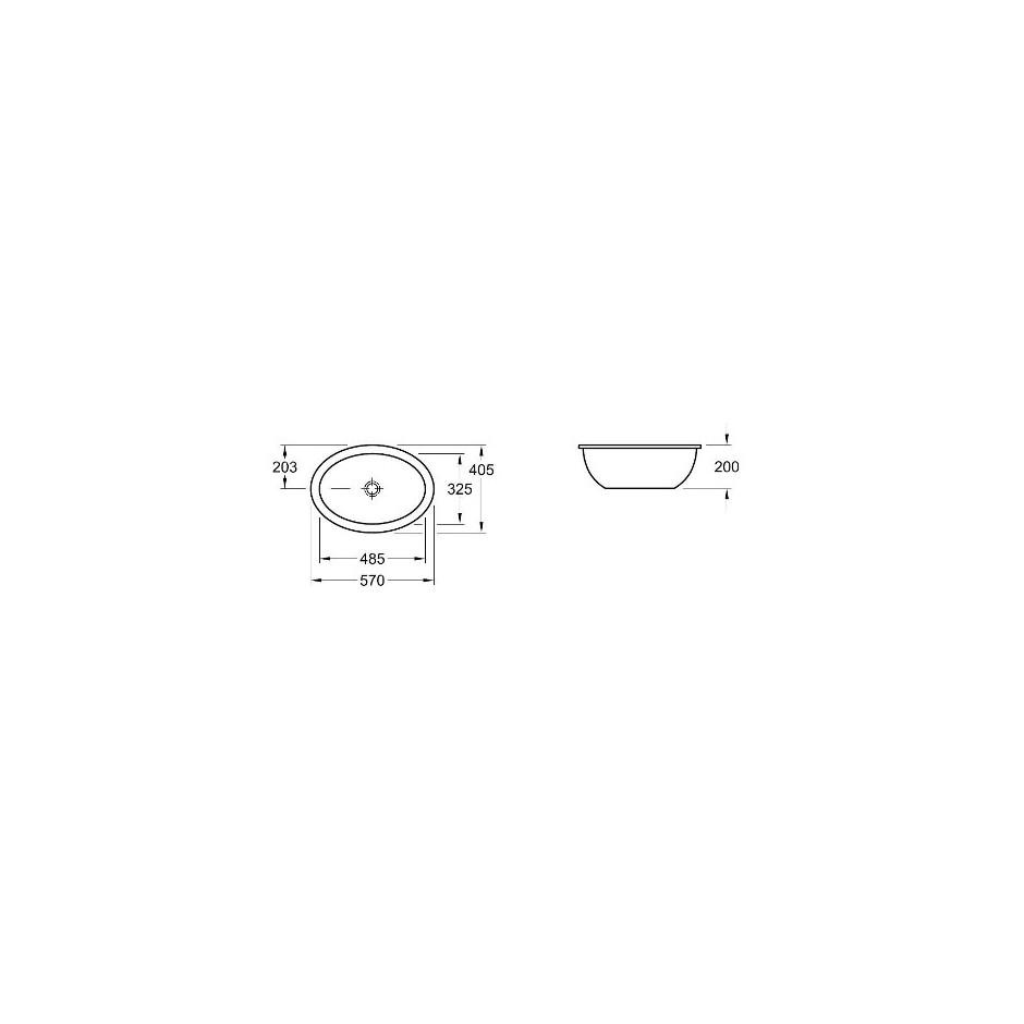 Villeroy & Boch Loop & Friends umywalka podblatowa, 485 x 325 mm, Pergamon Ceramicplus - 9340_T1