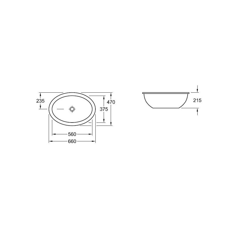 Villeroy & Boch Loop & Friends umywalka podblatowa, 560 x 375 mm, Pergamon Ceramicplus - 9325_T1
