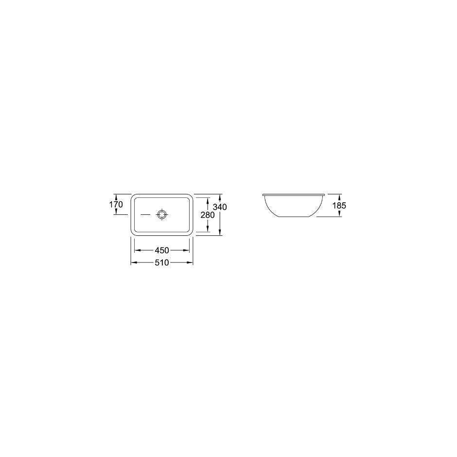 Villeroy & Boch Loop & Friends umywalka podblatowa, 450 x 280 mm, Weiss Alpin - 9381_T1