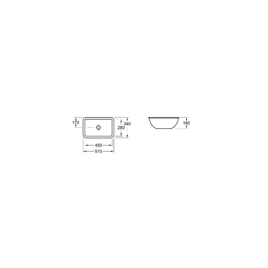 Villeroy & Boch Loop & Friends umywalka podblatowa, 450 x 280 mm, Star White Ceramicplus - 9389_T1