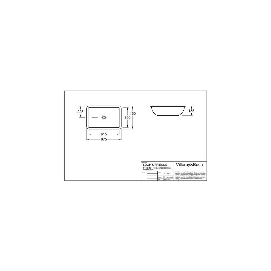 Villeroy & Boch Loop & Friends umywalka podblatowa, 615 x 390 mm, Star White Ceramicplus - 9364_T1