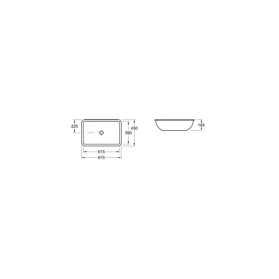 Villeroy & Boch Loop & Friends umywalka podblatowa, 615 x 390 mm, Pergamon Ceramicplus - 9365_T1