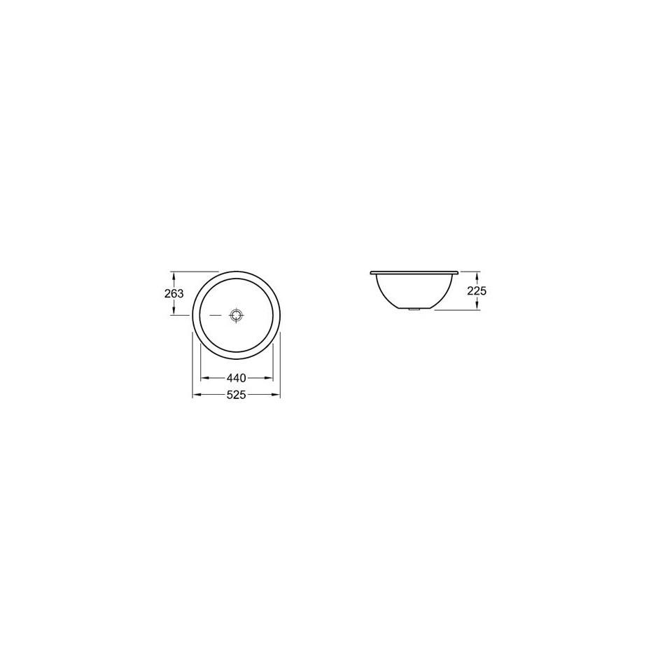 Villeroy & Boch Loop & Friends umywalka podblatowa, 330 mm srednicy, Pergamon Ceramicplus - 9255_T1