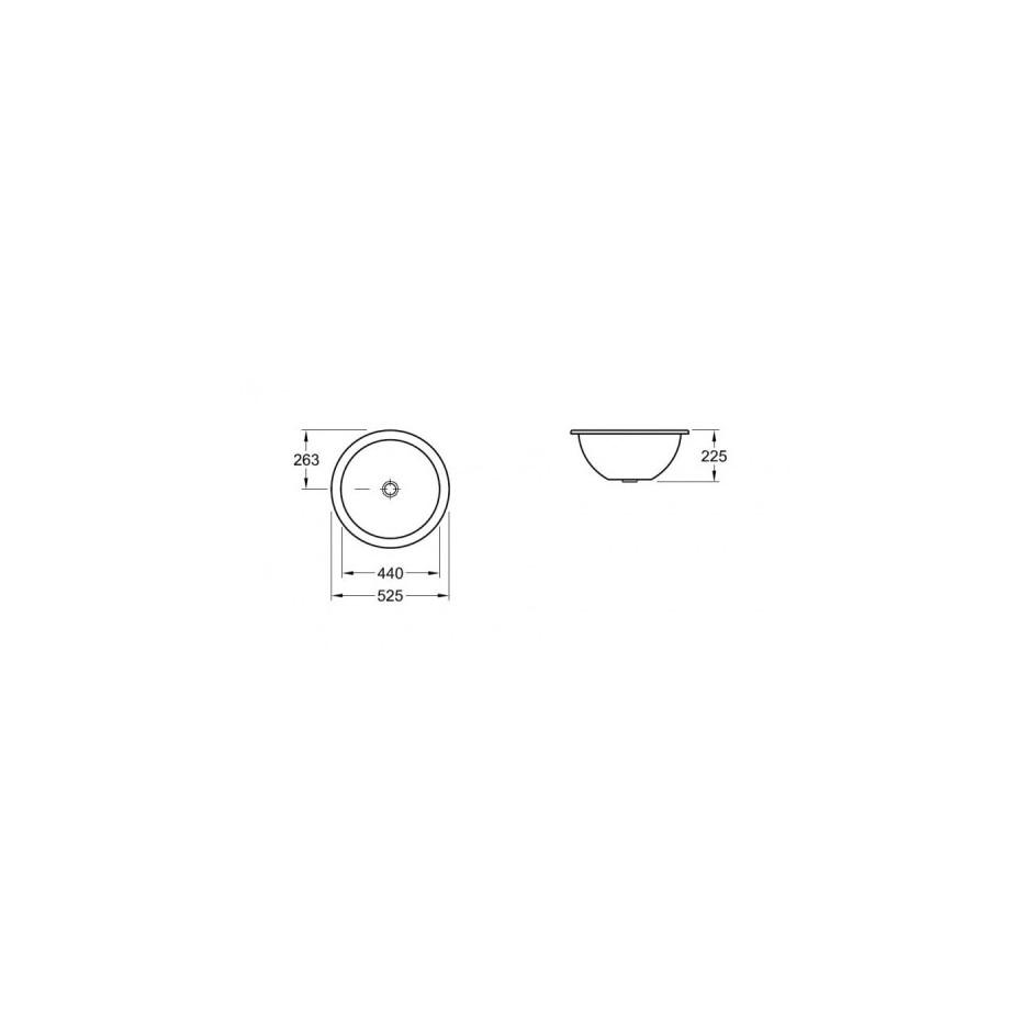 Villeroy & Boch Loop & Friends umywalka podblatowa, 440 mm srednicy, Weiss Alpin Ceramicplus - 9243_T1