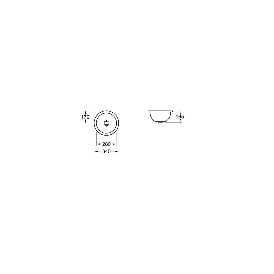 Villeroy & Boch Loop & Friends umywalka podblatowa, 280 mm srednicy, Star White Ceramicplus - 9279_T1