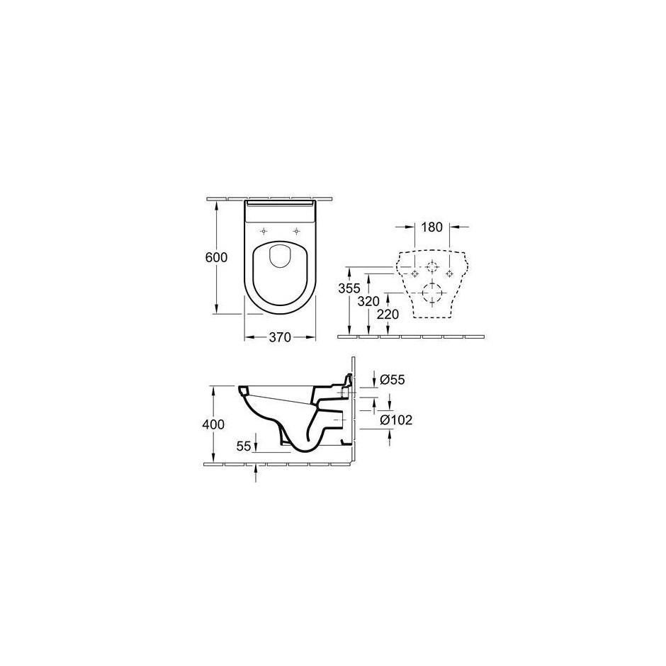 Villeroy & Boch Hommage miska WC wisząca, 370 x 600 mm, Star White Ceramicplus - 8757_T1