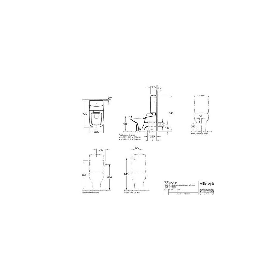 Villeroy & Boch Hommage miska lejowa do Wc-kompaktu, 370 x 725 mm, odplyw poziomy, Weiss Alpin Ceramicplus - 8764_T1