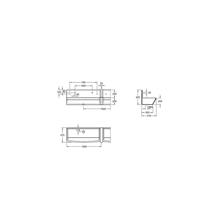 Villeroy & Boch O.Novo umywalnia rynnowa, przedtem OMNIA PRO, 1000 x 205 x 415 mm, Weiss Alpin Ceramicplus - 11606_T1