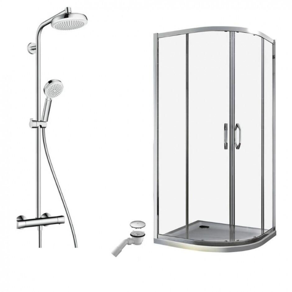 Huppe Ena kompletna kabina prysznicowa 90 brodzik, bateria termostatyczna Hansgrohe z deszczownicą (140602069322+840401055+27264400)