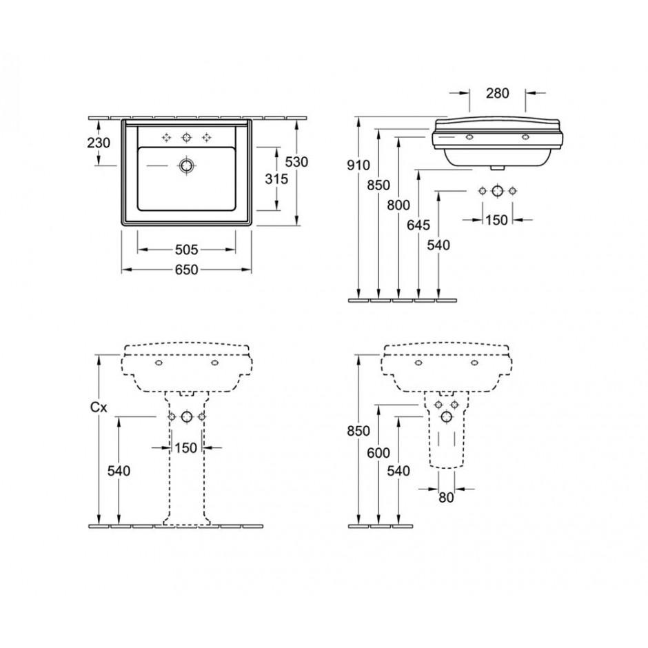 Villeroy & Boch Hommage umywalka 650 x 530 mm, Weiss Alpin Ceramicplus - 8695_T1